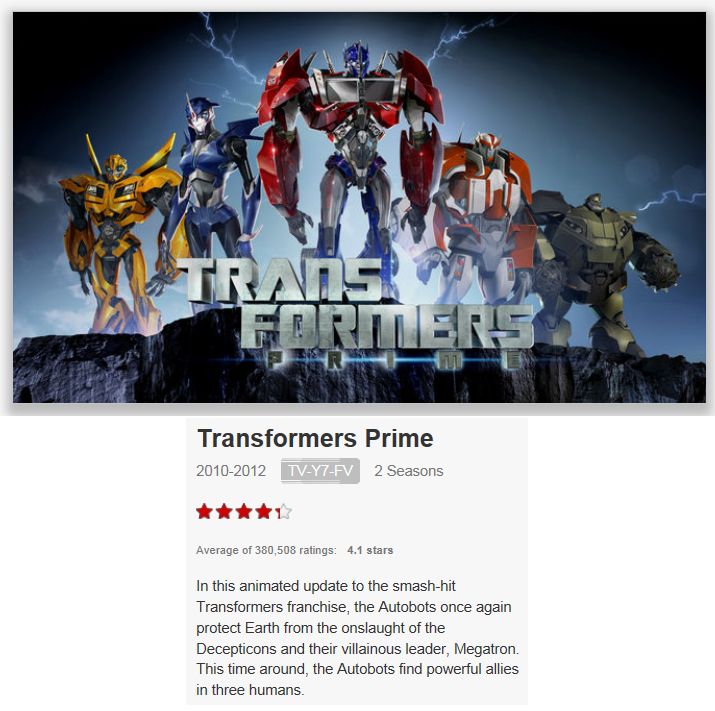 On Netflix Canada: Transformers Prime
