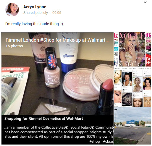 Behind the Scenes Google+ Album of shopping for Rimmel London Makeup in the Nude
