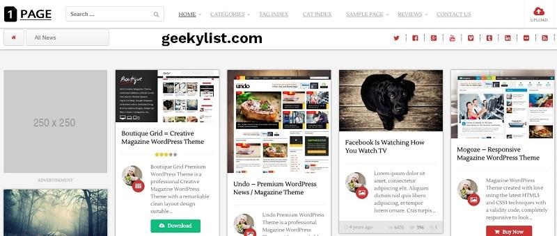 1Page – Pinterest Masonry WordPress theme