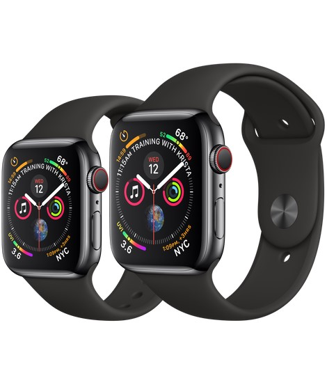 Apple Watch Series 4 (A1975/A1976 - A2007 /A2008) Smartwatch (GPS + Cellular) - Black Sport Band