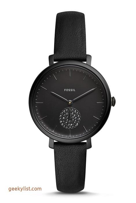 Fossil ES4490P Jacqueline black leather women's watch