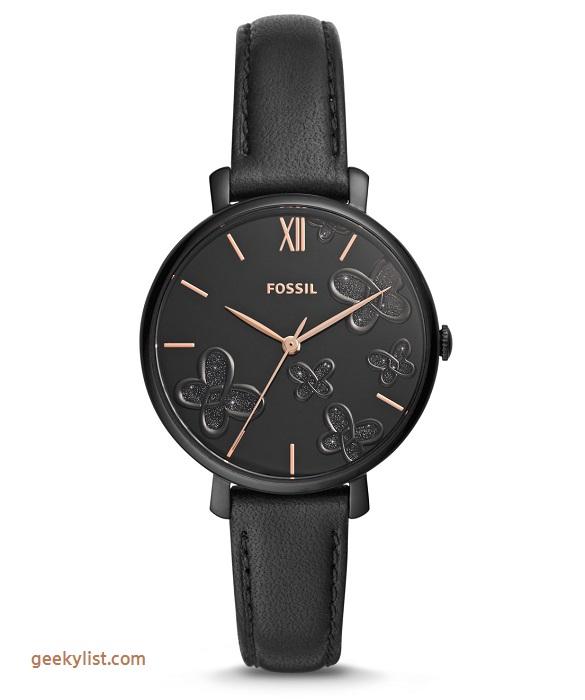 Fossil ES4532P Jacqueline black leather women's watch