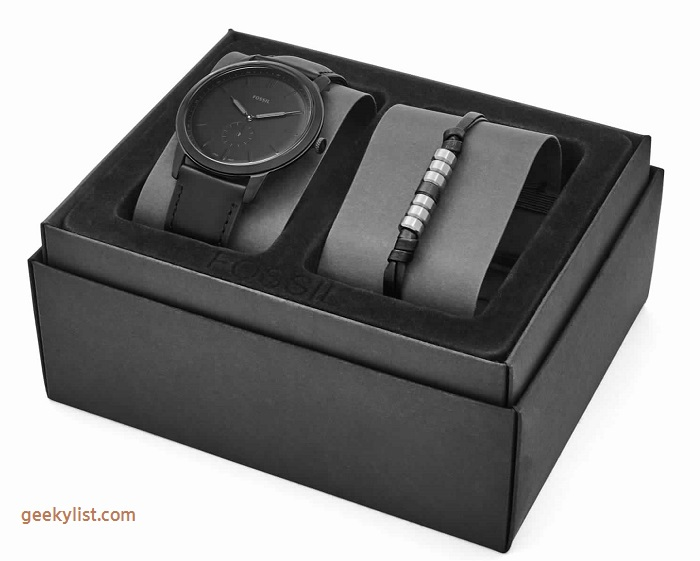 Fossil FS5500SETP The Minimalist leather watch and bracelet box set
