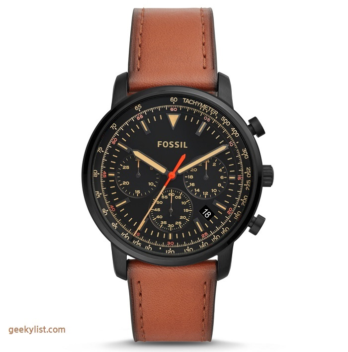 Fossil FS5501P Goodwin chronograph luggage leather watch