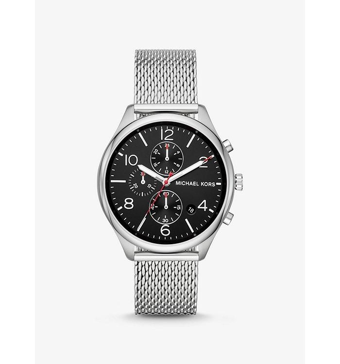 Michael Kors MK8644 Merrick Silver-Tone Mesh Chronograph Mens Watch