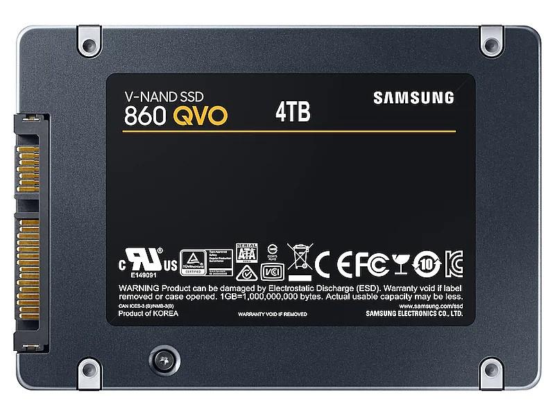 """Samsung SSD 860 QVO 2.5"""" SATA III 4TB Solid State Drive (MZ-76Q4T0B/AM)"""