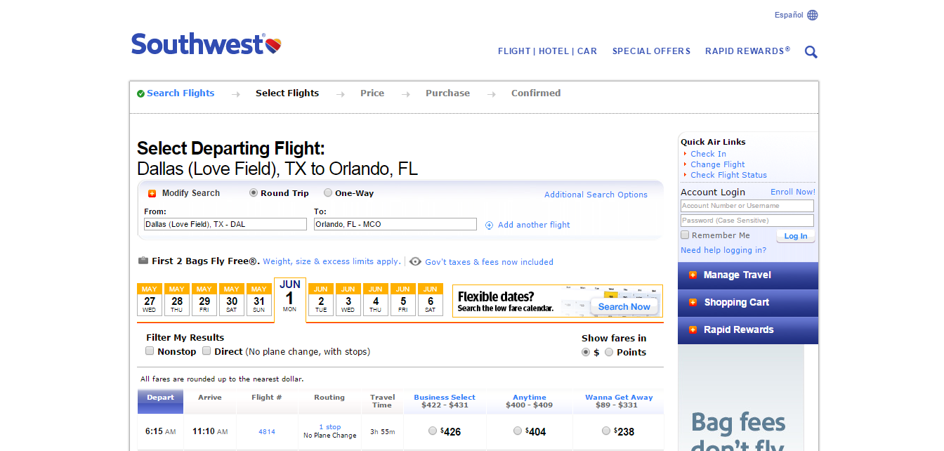 Southwest Airline Reviews And Airline Comparison