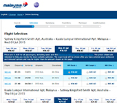 Screenshot of Malaysia Airlines
