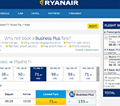 Screenshot of RyanAir