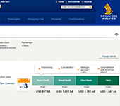 Screenshot of Singapore Airlines