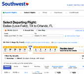Screenshot of Southwest
