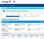 Malaysia Airlines Website