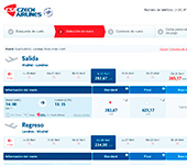 captura de pantalla de Czech Airlines