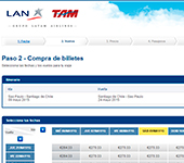 captura de pantalla de LAN Airlines