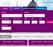 captura de pantalla de Wizz Air