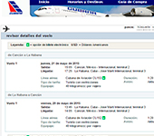 Web de Cubana de Aviacion