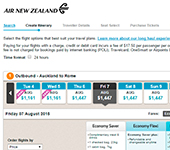 screenshot di Air New Zealand