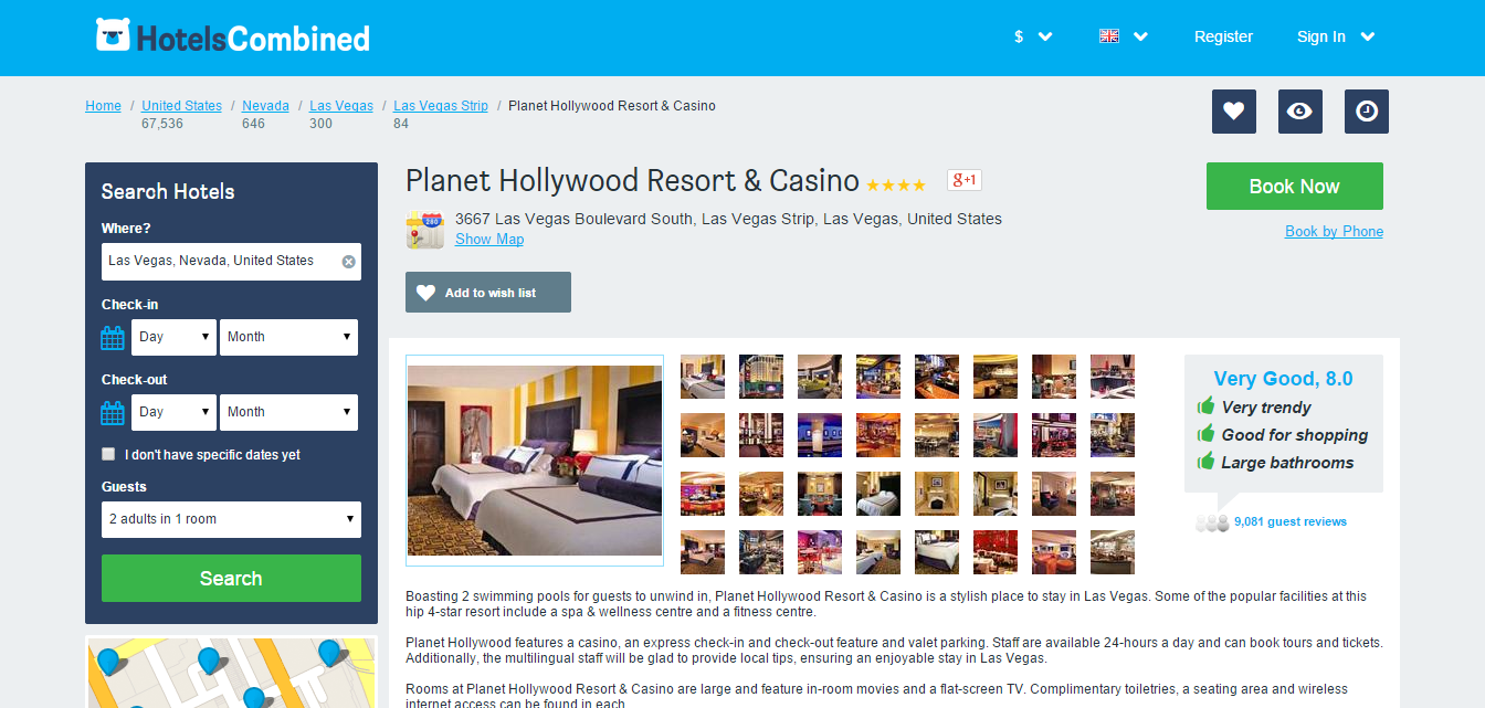 Hotels combined hotel comparison and reviews for Sites hotel