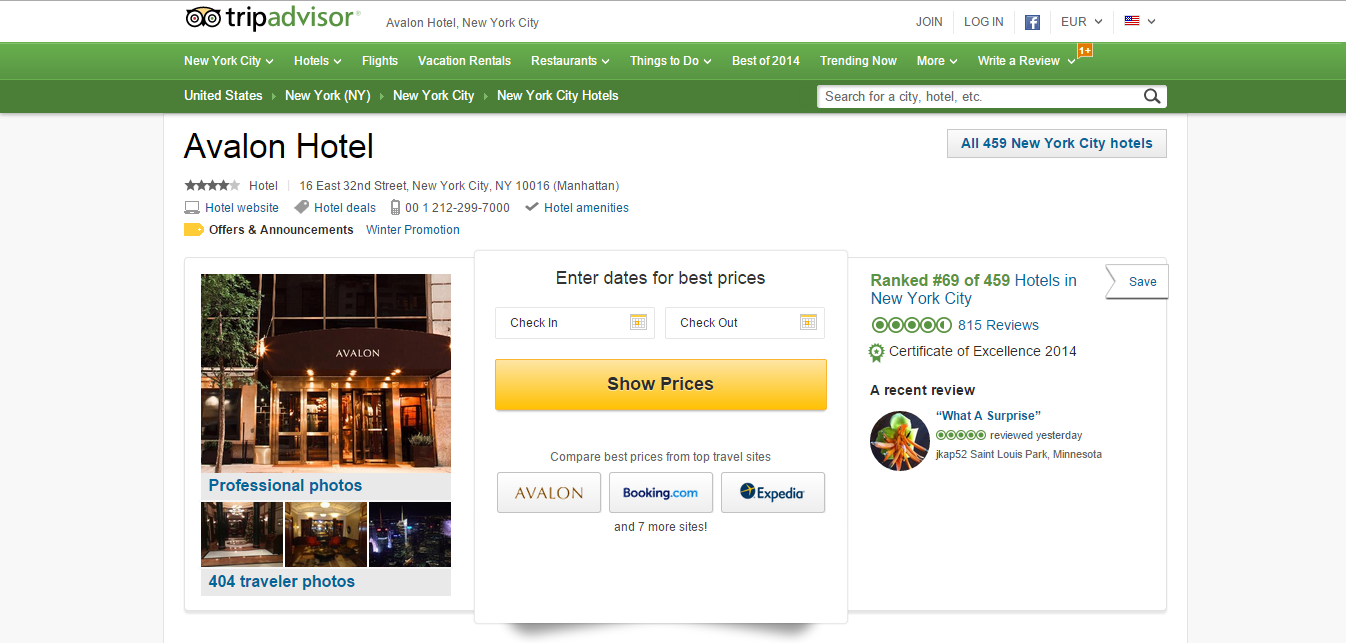 TripAdvisor Screenshot Of Website