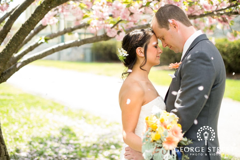 falling petals wedding portrait
