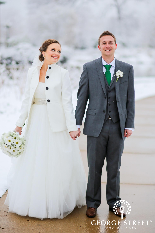white winter wedding attire