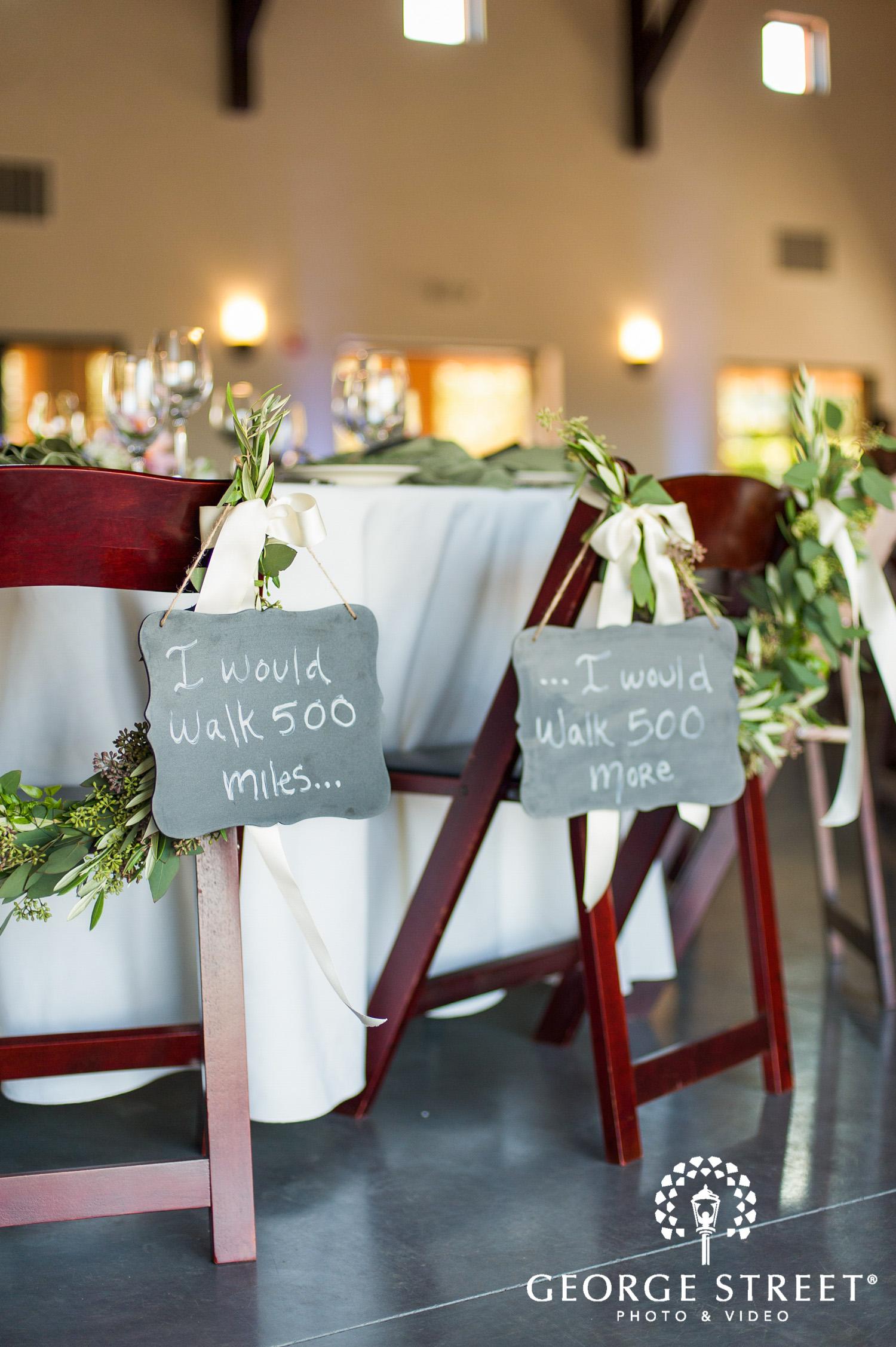 wedding reception decor chair signs