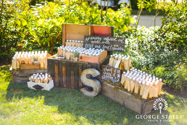 wedding guest favors rustic decor display