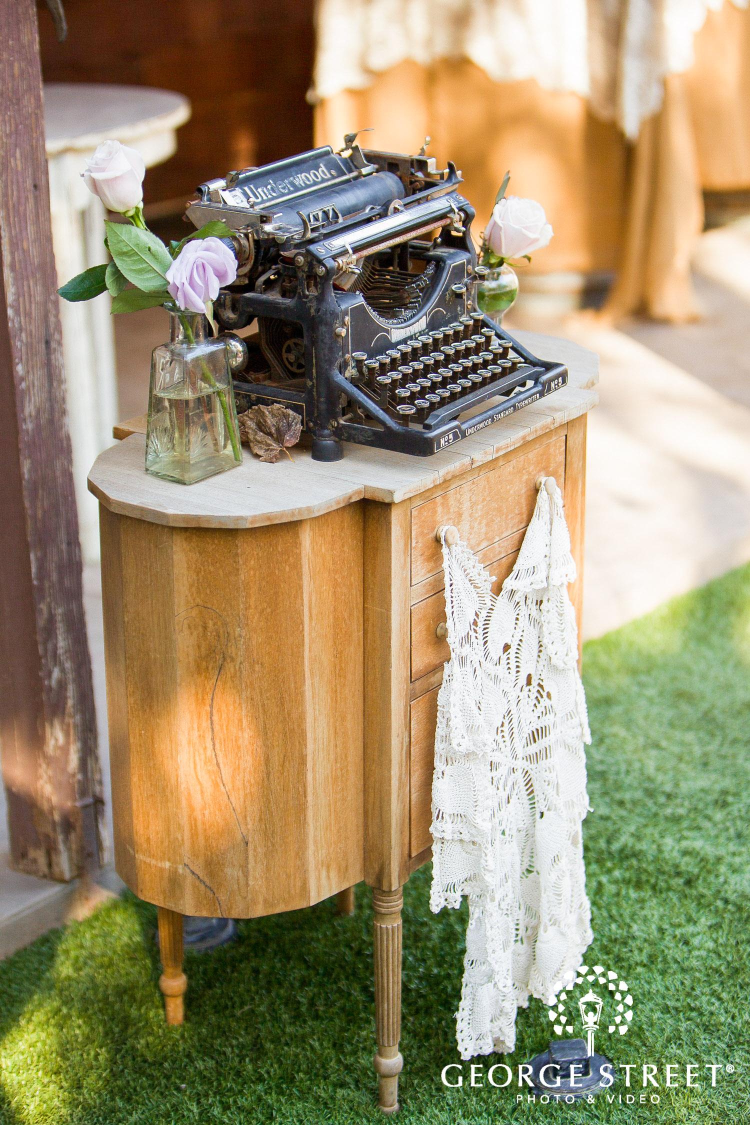 vintage wedding decor underwood typewriter