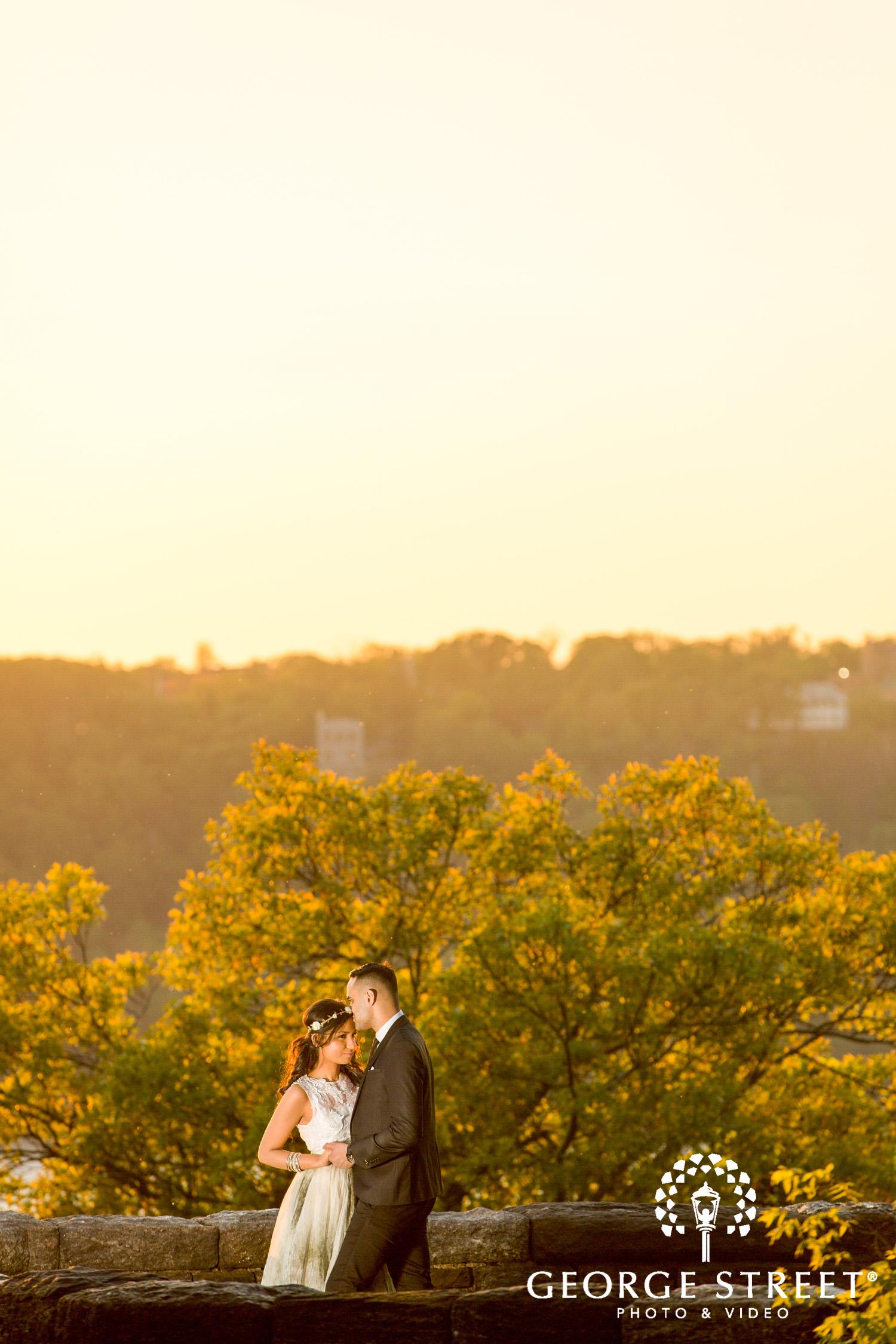 golden hour dramatic engagement photo