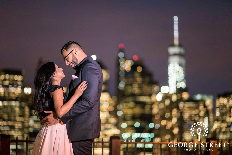New York City skyline engagement photo