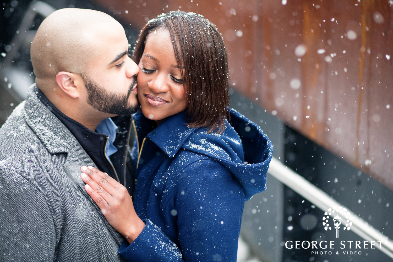 snowy winter engagement photo