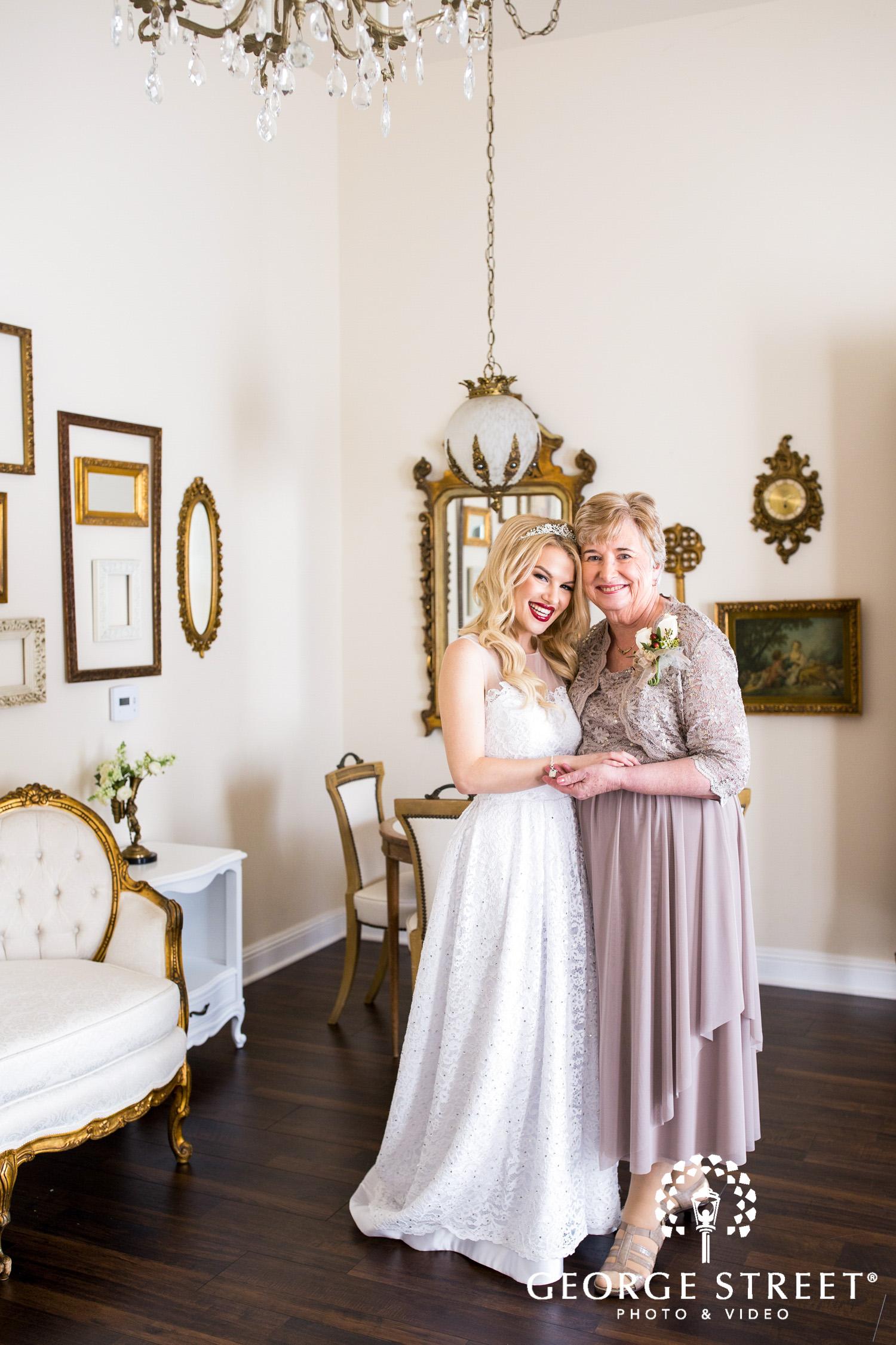 bride and grandmother wedding photo