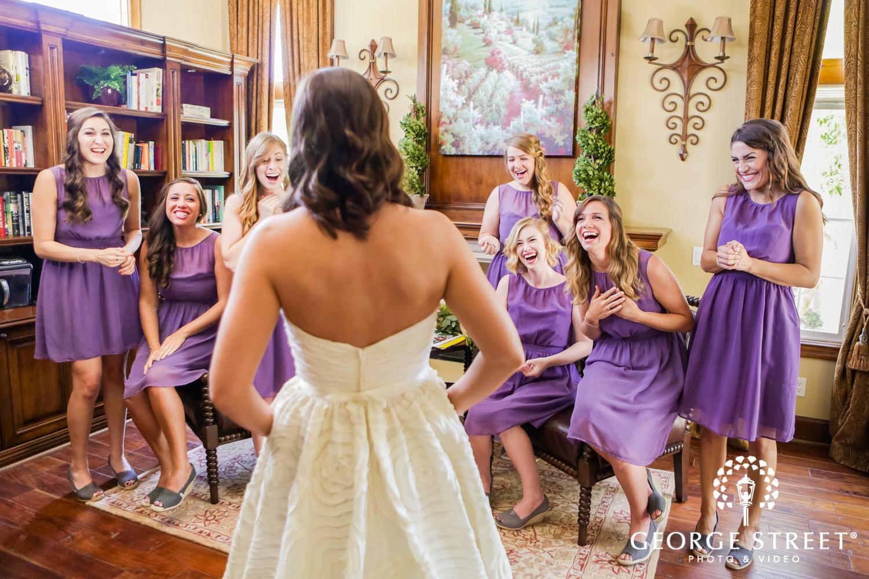 bridesmaids wedding day first look