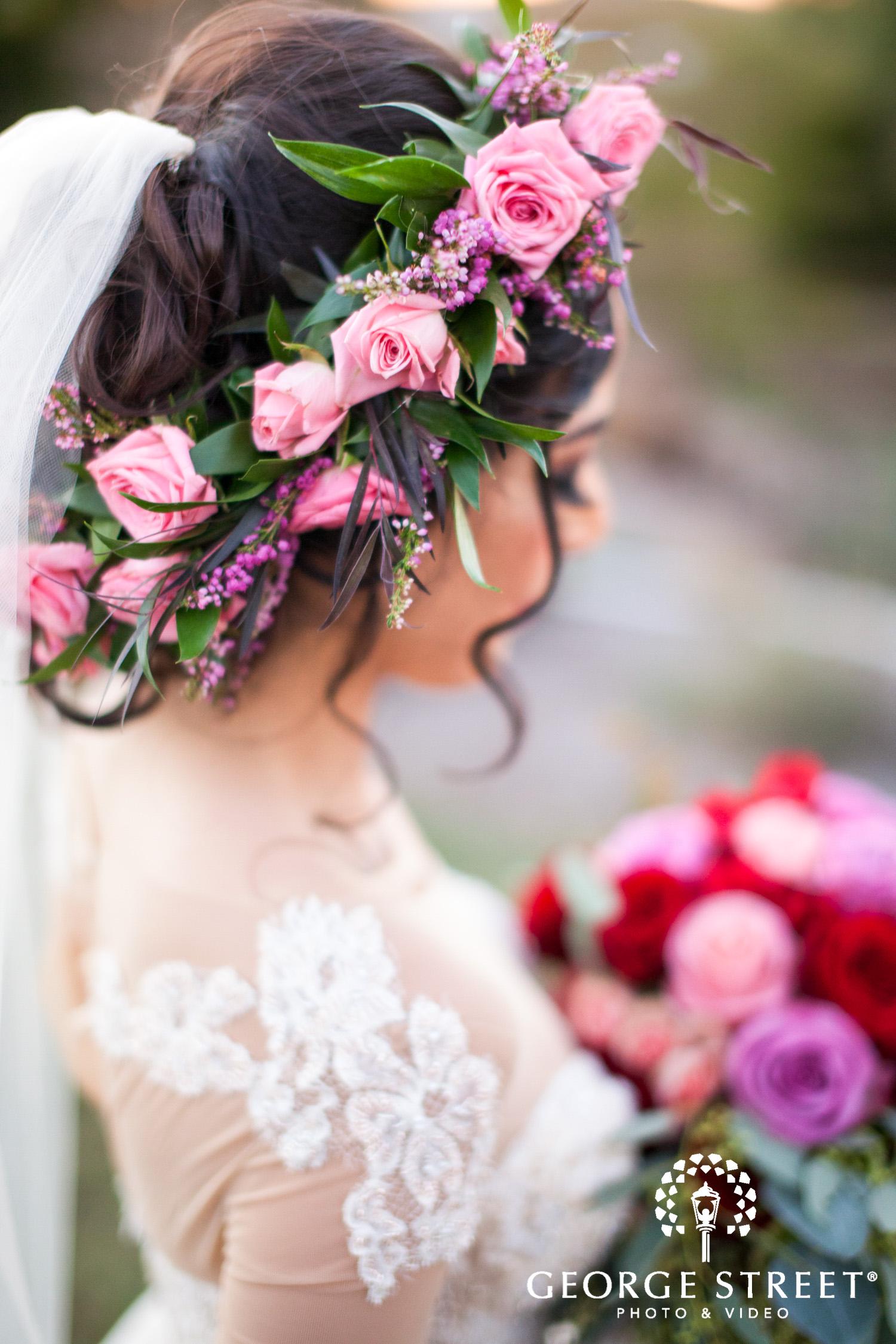 bride blush flower crown