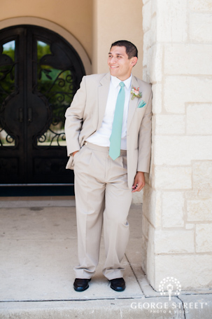 Teal and khaki suit inspiration for grooms
