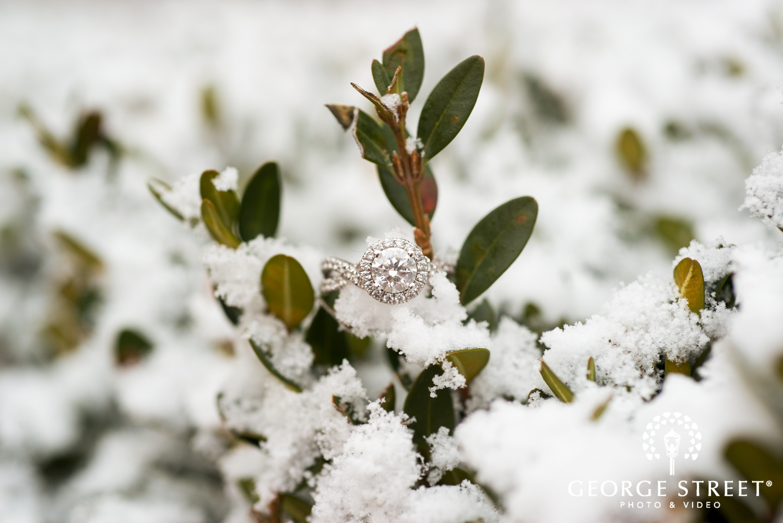 wedding ring in snow winter wedding