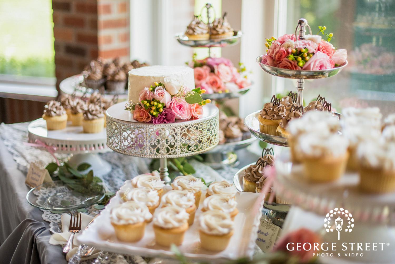 beautiful airy wedding dessert table