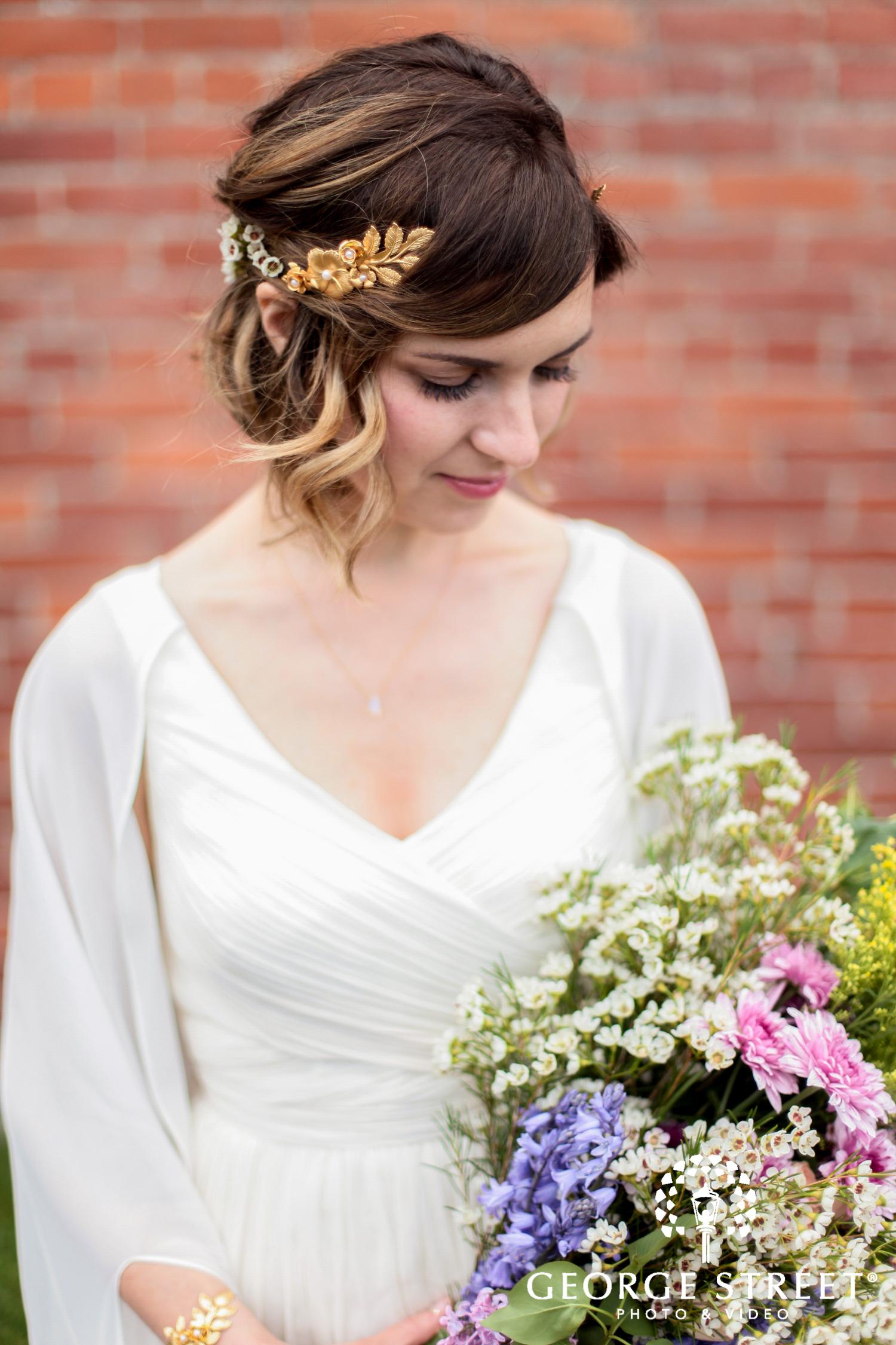 beautiful gold leaf wedding hair accessory