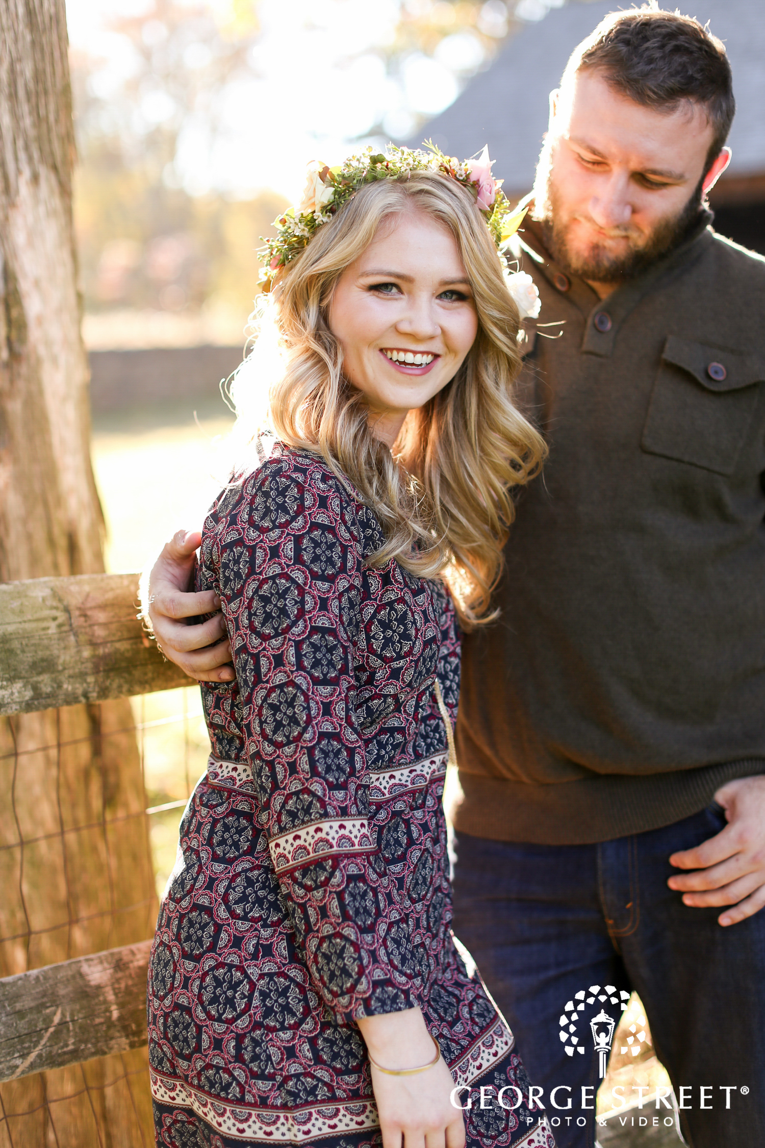 beautiful flower crown outdoor engagement session