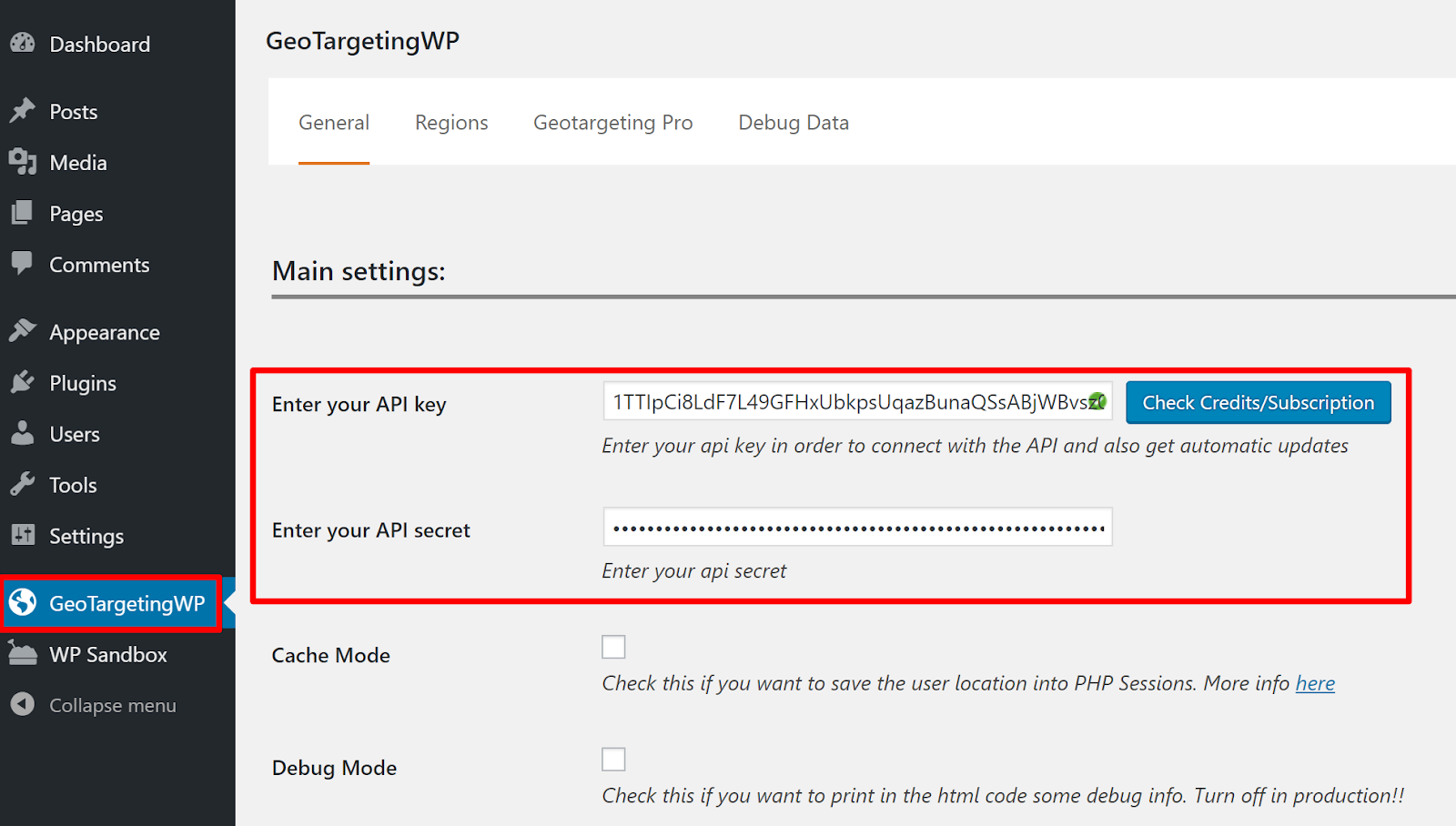geotargetingwp settings