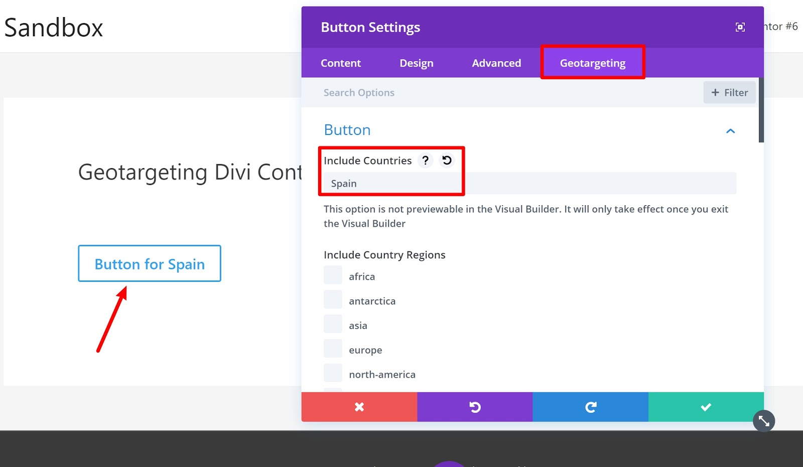 divi builder geotargeted