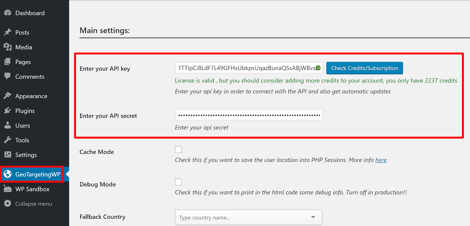 geotargeting wordpress settings page