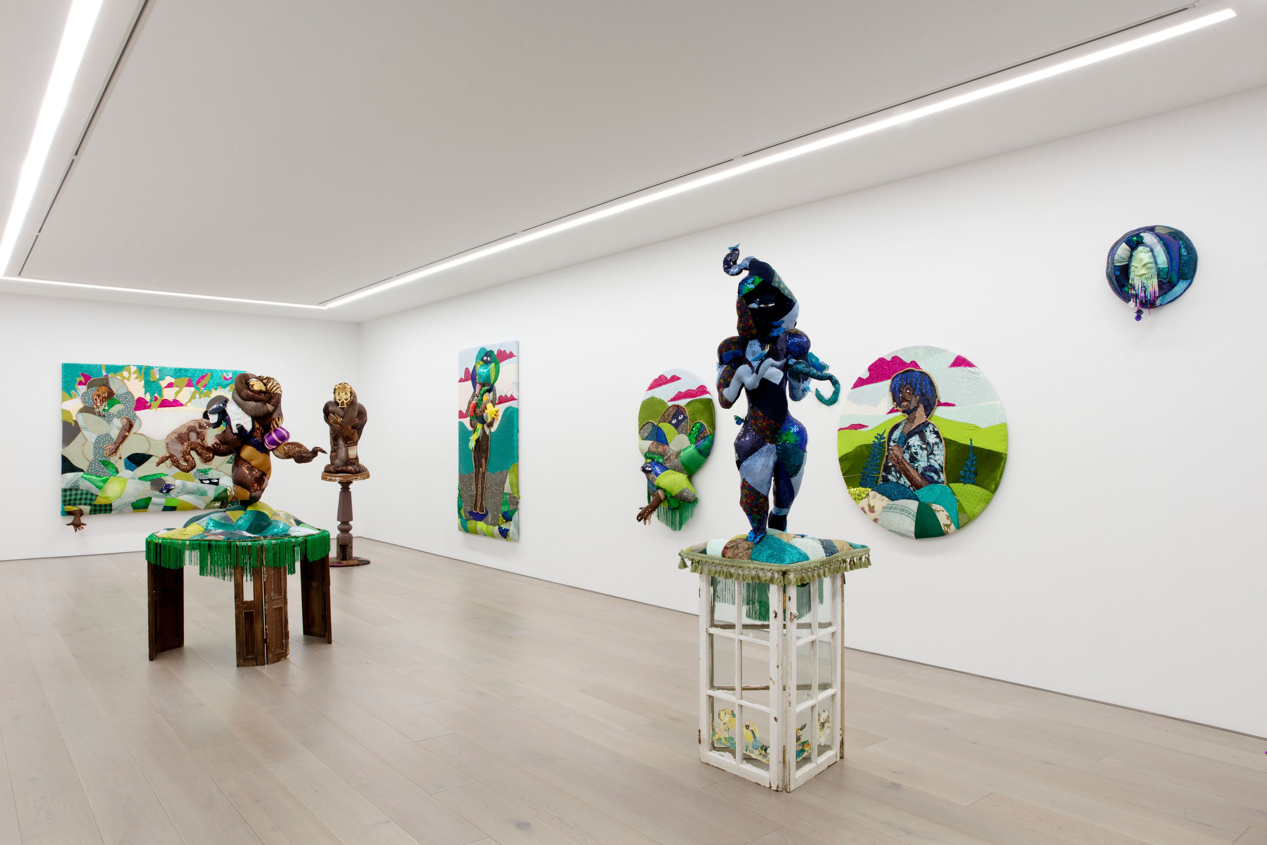 Installation View of Trevon Latin: Trinket Eater at Perrotin New York, 2021. Photographer: Guillaume Ziccarelli. Courtesy of the artist and Perrotin.