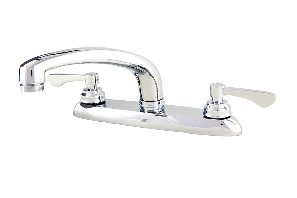 Commercial Two Handle 3 Hole Installation Kitchen Faucet | Gerber Plumbing