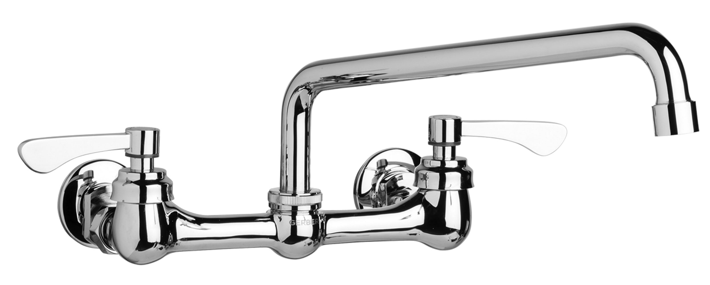 Commercial Two Handle Wall Mount Kitchen Faucet W Lever
