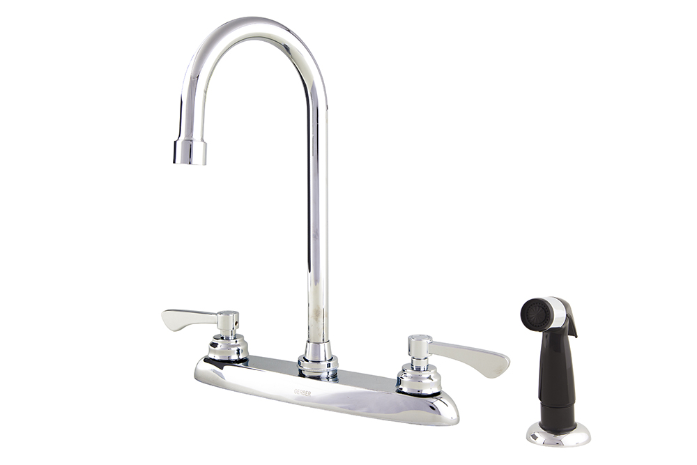 Commercial Two Handle 4 Hole Installation Kitchen Faucet With Spray ...