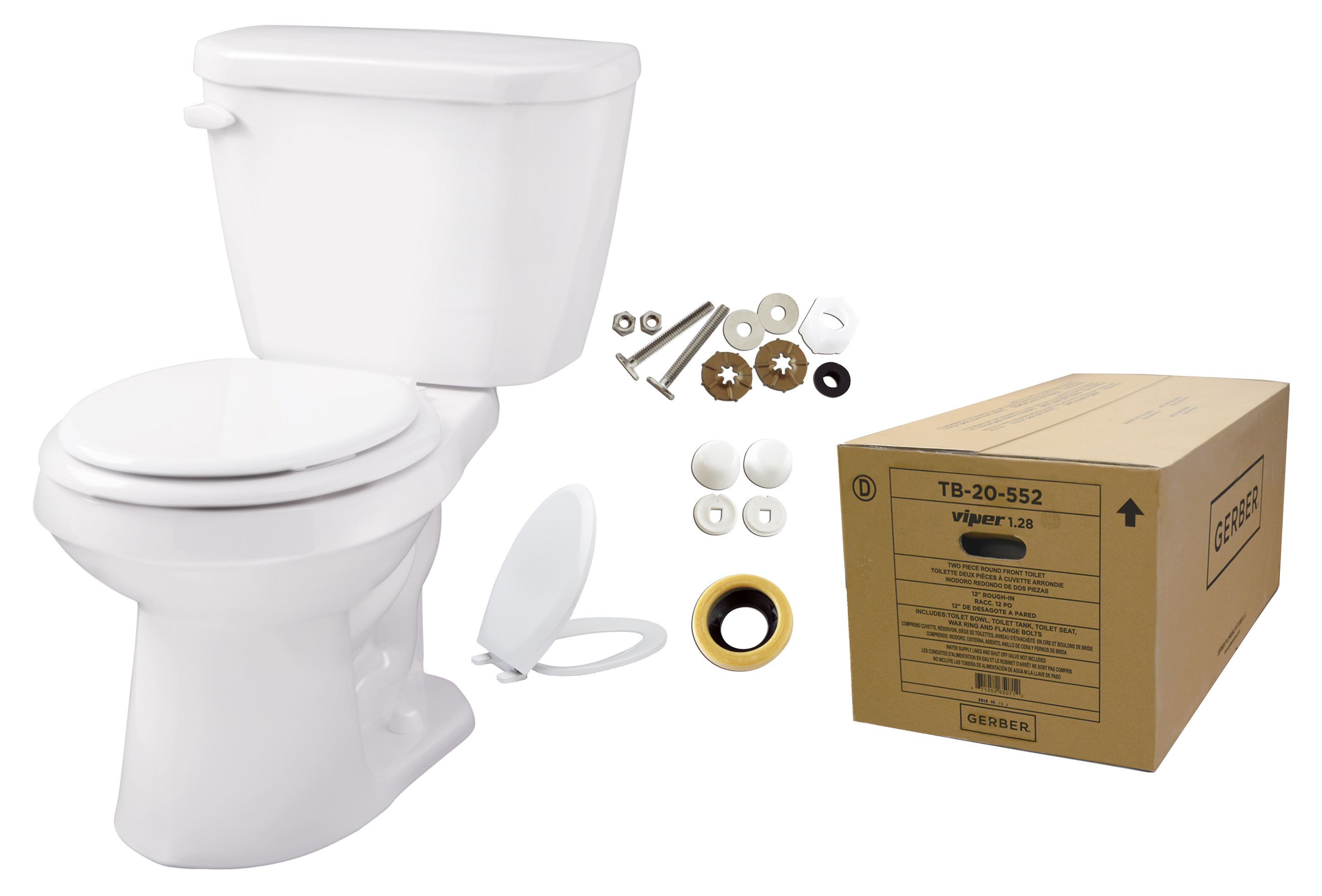 Viper 1 28 Gpf 12 Rough In Toilet In A Box Two Piece Round Front Toilet Gerber Plumbing