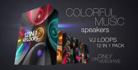 colorful music speakers vj loops pack