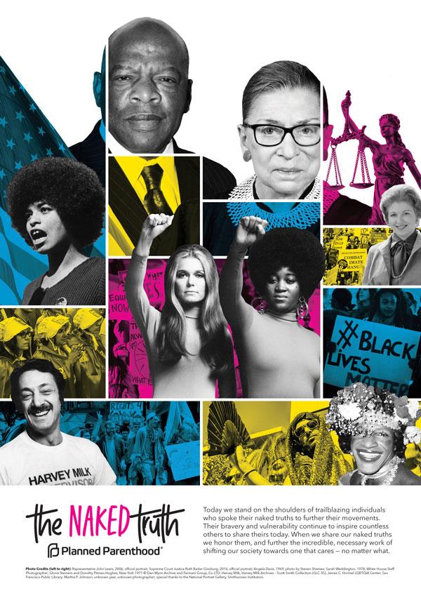 Collage featuring leaders of their respective movements including John Lewis, Ruth Bader Ginsburg, Angela Davis, Sarah Weddington, Gloria Steinem, Dorothy Pitman Hughes, Harvey Milk and Marsha P. Johnson.
