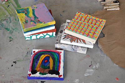 A selection of 6x6 artworks created by NIAD artists during shelter in place.